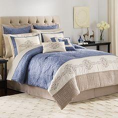 Vendome 12-Piece Complete Comforter Set in Ivory/Blue