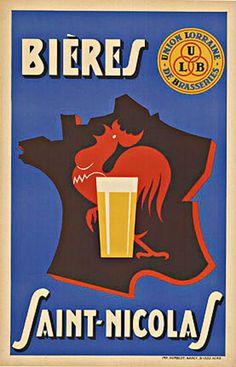 Saint-Nicolas Beer, Union Lorraine de Brasseries (Union of Lorraine Breweries), France, ca. 1930s.