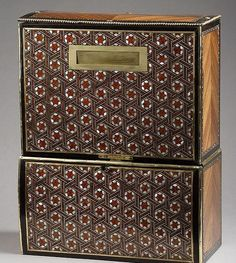 """A mother of pearl and wood veneered musical box -""""billet doux"""", made up with two compartments with locks. Circa 1860. #art #gallery"""