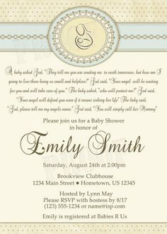 Personalized Mother Child Baby Shower Invitations