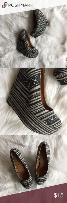 Madden Girl Navy & Grey Aztec Printed Wedges Good used condition. Minimal wear. One small spot of discoloration. (Please note in photos above.) Size 8M. So cute and perfect for the end of summer or clubbing! All sales final. Price is firm for these! 💓  🌟No Returns If Item Doesn't Fit - Please Ask For Measurements Instead (Per Posh Rules)  🌟 No Trades 🌟 I Do Not Model Madden Girl Shoes Wedges