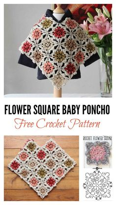 Free Flower Square Baby Poncho Crochet Pattern With these Free Flower Square Kids Poncho Crochet Patterns, you can create squares first, and then join them together to make the beautiful poncho. Crochet Baby Poncho, Crochet Baby Blanket Beginner, Crochet Toddler, Crochet Poncho Patterns, Granny Square Crochet Pattern, Crochet For Kids, Crochet Shawl, Free Crochet, Crochet Granny