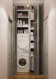 Pin on Amenagement maison Modern Laundry Rooms, Laundry Room Layouts, Laundry In Bathroom, Small Bathroom, Bathroom Layout, Laundry Room Design, Home Room Design, Bathroom Interior Design, Laundry Cupboard