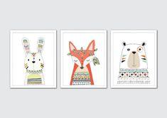 Arte tribal vivero, estampados animales tribales, tribales vivero pared arte, arte animales del bosque, bosque vivero Decor, zorro, oso, conejo lámina