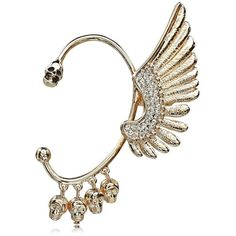 Statement Punk Wing Skull Ear Wrap Earring ❤ liked on Polyvore featuring jewelry, earrings, punk earrings, wrap jewelry, punk rock earrings, wing earrings and wing jewelry