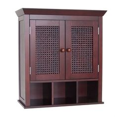 Elegant Home Fashions Cane 2 Door Wall Cabinet with Cubbies