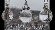 Replica of a Gotland Mountain Crystal Pendant, X. century, Gotland (Sweden). This jewel is an elegant combination of natural rock crystal and