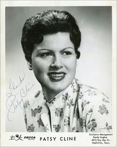 """PATSY CLINE ~ A year later, she married Gerald Cline, and her name was solidified. In '57, she landed a spot on """"Arthur Godfrey's Talent Scouts."""" She wowed the audience singing """"Walkin' After Midnight,"""" and WON the competition. The song hit the country and pop charts. Soon after, she divorced her husband. In the early '60's, she joined the """"Grand Ole' Opry,"""" and recorded one of her greatest hits ~ """"I Fall to Pieces."""" The song hit the Top 10 on the Pop and Country charts!"""