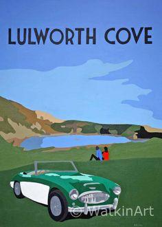 Austin-Healey at Lulworth Cove, Dorset Posters Uk, Train Posters, Railway Posters, Art Deco Posters, Football Poses, Minimal Travel, Lulworth Cove, Art Deco Paintings, Nostalgic Art