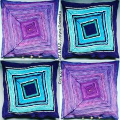 Pillow covers crocheted from cut and coloured pantyhose waste.