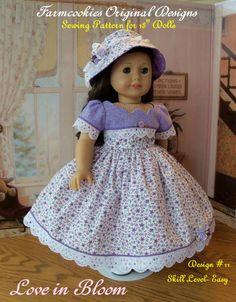 """Patron de couture PDF / Love in Bloom / patron de couture pour American Girl poupées de 18"""""""