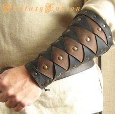 Medieval Warrior Viking Gladiator Forearm 2 Tones Leather BracerS ( - A Pair - ) Leather Bracers, Leather Cuffs, Leather Tooling, Black Leather, Renaissance Fair Costume, Viking Costume, Vikings, Concept Clothing, Larp Armor