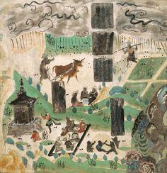 法華經變〈藥草喻品〉 莫高窟第23窟 北壁 盛唐 畫的上方是〈藥草喻品〉,繪畫了雨中耕作的景象,一個農夫正在田裡揮鞭趕牛;另一個農夫則冒雨擔肩挑物,其間穿插了農婦送飯,親切地看著父子二人捧飯而食的片段。畫上方的大片烏雲和雨滴,正呼應〈藥草喻品〉中「密雲彌布遍覆三千大千世界……一雨所潤,而諸草木各有差別」的經文,意謂天降雨水,是一視同仁地滋養萬物,但草木卻因各自大小而接收不同份量的滋養。畫中的雲雨比喻佛陀對眾生平等地說法,而眾生會像草木一樣,所得會因應其本質的差異而有別。 下方是〈方便品〉的畫面,田間禾木茂盛,左下方有一塔,塔前有一人在跪地禮拜,一人則在跳舞。六個樂伎席地而坐,手持各種樂器作音樂供養,表達了〈方便品〉經文所述,若有人禮拜佛塔,或在塔前以音樂來供養佛和歌頌佛的德行,都是功德,可以成佛。畫中四個胖娃娃在堆沙,亦喻意經文「聚沙成塔」的佛理,意指即使微小的行為都能具成佛的因緣。