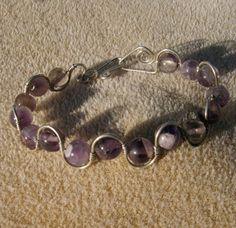 Amethyst Gemstone Bracelet - Sterling Silver Wire Wrapped Purple Dogstooth by JewelryArtistry - BR479 - pinned by pin4etsy.com
