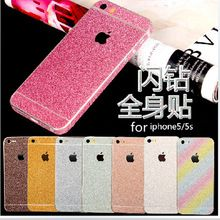 Bling Glitter Shiny Crystal Diamond Full Body Front and Back Wrap Decal Film Sticker Skin For Apple iPhone 5 5S 5C(China (Mainland))