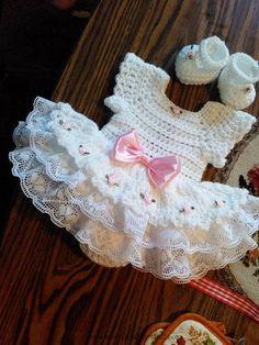 Crochet Baby Dress White crochet Rosebud onsie baby dress set. ~ purchased item...