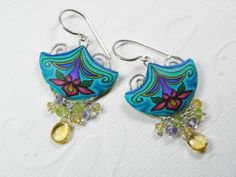 Spring Thing Millefiori Polymer Clay  Earrings with Gemstones and Sterling Silver