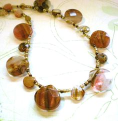 Amber Quartz Beaded Necklace by LynnetteJewelry on Etsy, $30.00