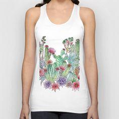 Cactus garden Unisex Tank Top #cactus #cacti, #illustration, #Tshirt, #girl #summer #tank #fashion #top