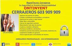 Cerrajeros Ontinyent 603 909 909 Serrallers en Onteniente, Comunidad Valenciana