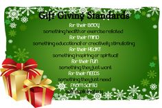 """This is a variation on the gift standard """"something to WEAR, something to READ, something you WANT, something you NEED""""  - Like this in addition to the """"Christmas Eve surprise box with P.J, ornament,craft or game, book or movie & snacks."""