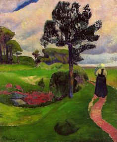 "artist-serusier: ""Mother and Child on a Breton Landscape by Paul Serusier Size: 73.2x60 cm Medium: oil on canvas"""