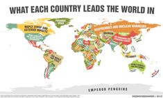 WHAT EACH COUNTRY LEADS THE WORLD IN is a a tongue-in-cheek world map where each country is  marked with what it is best at.   Definitely unscientific and non-factual—although still good for a laugh—the map actually reflects national stereotypes that are associated with the various countries.   [via DOGHOUSEDIARIES]