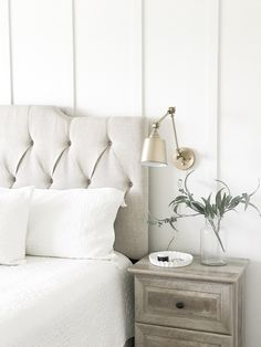 board and batten accent wall – - board and batten accent wall - Accent Walls In Living Room, Accent Wall Bedroom, Wood Bedroom, Bedroom Ideas, Bedroom Decor, Bedroom Fireplace, Bedroom Colors, Modern Farmhouse Bedroom, Farmhouse Interior