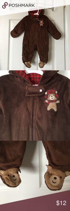 Teddy Bear ONESIE Who wants a teddy bear?!!! Such cute piece. Excellent condition. Sz 3 months. Fuzzy chocolate brown fleece, fully Flannel lined. Hoodie has teddy bear ears. Smoke and pet free. #carters #justoneyou #teddybearonesie #fuzzyteddybear #lumberjack #lumberjackteddybear Carter's One Pieces Bodysuits