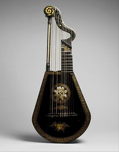 Harp–lute, ca. Light (English, active - Materials: Wood, lacquered and gilded- Length: Strings: Other Notes: The pitch of the bass strings can be raised a semitone by finger-operated ring stops that work like pedals on a harp. Sound Of Music, Music Love, Tiefling Bard, World Music, Music Stuff, Metropolitan Museum, Art History, History Museum, United Kingdom