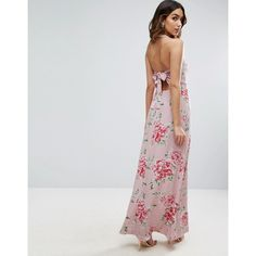 ASOS Maxi Dress with Open Back in Floral Print (54 AUD) ❤ liked on Polyvore featuring dresses, multi, open back maxi dress, prom dresses, halter top prom dresses, halter prom dresses and halter maxi dress