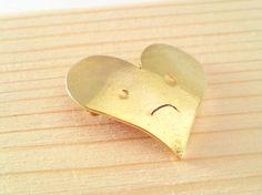 Brave Heart 2 /Brass Brooch/ Silver950/ Simple by SaeSumiKoru, $30.00