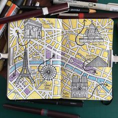 Illustration Jitesh Patel Moleskine Sketch Book Paris moleskine city map I've drawn a map of Paris a few times another nice city…