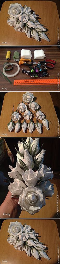 "МАСТЕР-КЛАСС ""КАСКАД"". Candy Flowers, Crepe Paper Flowers, Paper Flower Backdrop, Diy Flowers, Fabric Flowers, Chocolate Flowers Bouquet, Diy Christmas Videos, Paper Plants, Basket Crafts"