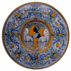Tin-glazed earthenware plate, Siena or Deruta, Italy, about 1500. Museum no. C. 2059-1910 (Plate)