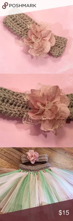 Floral Crocheted Headband This Floral Embellished Headband is crocheted from Bernat Home Dec Grey Colored Yarn. The Pink Floral Embellishment is sewn on and has Lace Accents. The Fashionable Headband is extrememly Soft, chunky and Stretchy which allows you to get maximum use out of the piece. Sizes can be custom made!   This Headpiece can be made to fit a Newborn - Adult Sizes, especially perfect for mommy and daughter or Sister matching days! Check Out My Instagram for more great products…