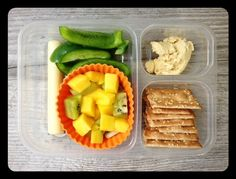 This is what both my girls took for lunch today: Whole-wheat crackers (by ak-mak), hummus, bell pepper slices, organic cheese stick, mango, and kiwi.