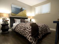 Income Property: Geometric bedroom for renters.