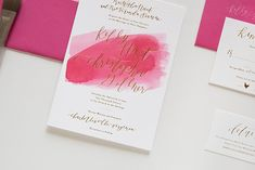 Fuchsia Watercolor and Gold Foil Wedding Invitations by Goodheart Design / Oh So Beautiful Paper