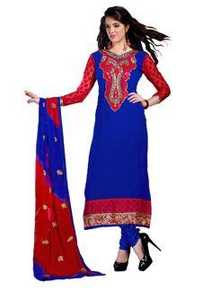 Stylish Blue And Red Georgette Designe #SalwarSuits  #craftshopsindia