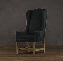 Belfort Wingback Upholstered Dining Chair   Fabric Arm & Side Chairs   Restoration Hardware
