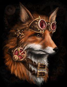 steampunk fox  by ~kitsu-aseru