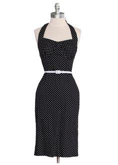 Retro Polka Dot Halter Dress