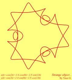 Strange object parametric curve: x(t)=cos(2*t)+1/4*cos(8*t)+1/5*sin(13*t), y(t)=sin(2*t)+1/4*sin(8*t)+1/5*cos(13*t), t∈[0; 2π], by Nico. G