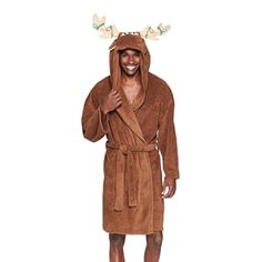 Holiday Moose Hooded Plush Robe | Cute gifts for boyfriend