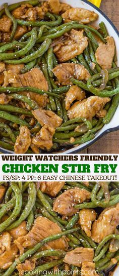 Chicken and Green Bean Stir Fry made with a garlic and ginger sesame sauce that's Weight Watchers friendly for just 4 smart points per serving. | #weightwatchers #wwrecipes #ww #cookingwithpoints #chickenrecipes #chickenstirfry #chineserecipes #chinesefood #chinese #easychickenrecipes