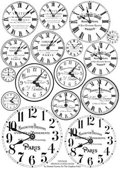 Free Printable French Clock Faces + Watercolor Technique!
