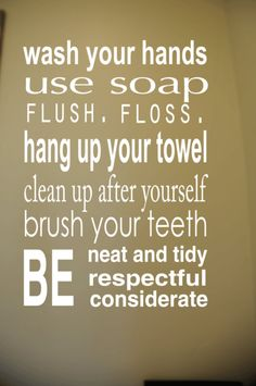 THIS IS IT! Bathroom Rules Subway Art Vinyl Wall Decal -- white letters and use on orange painted canvas!