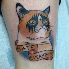 This Grumpy Cat tattoo is possibly the best tattoo ever! GET IT!!