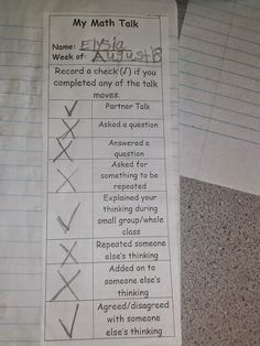 Our School is Super (hero)!!!!  Math talk moves student accountability check list